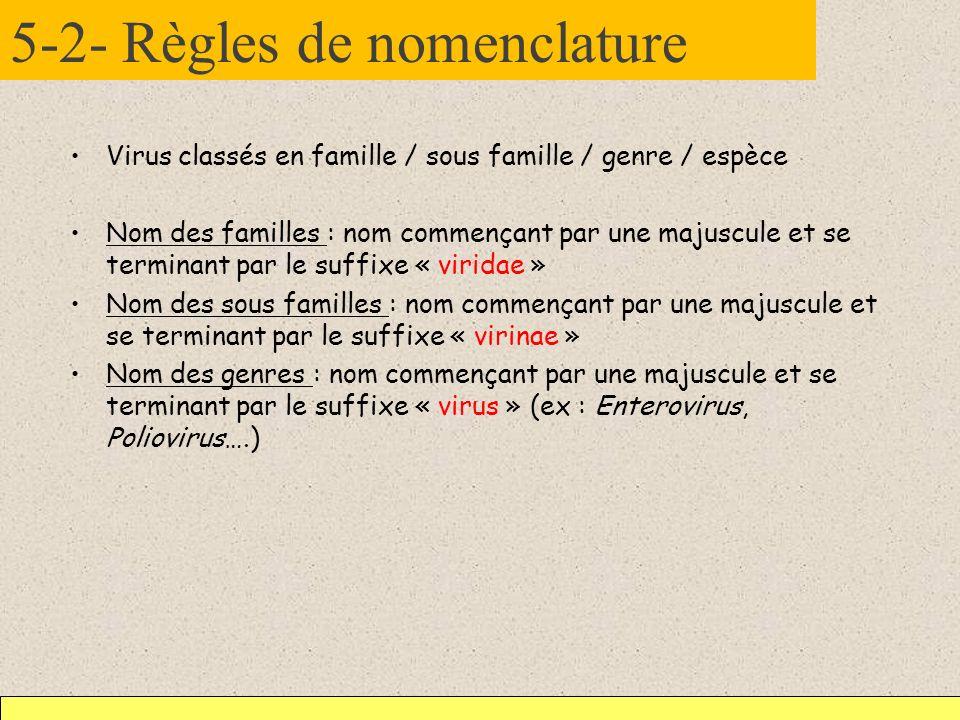 5-2- Règles de nomenclature