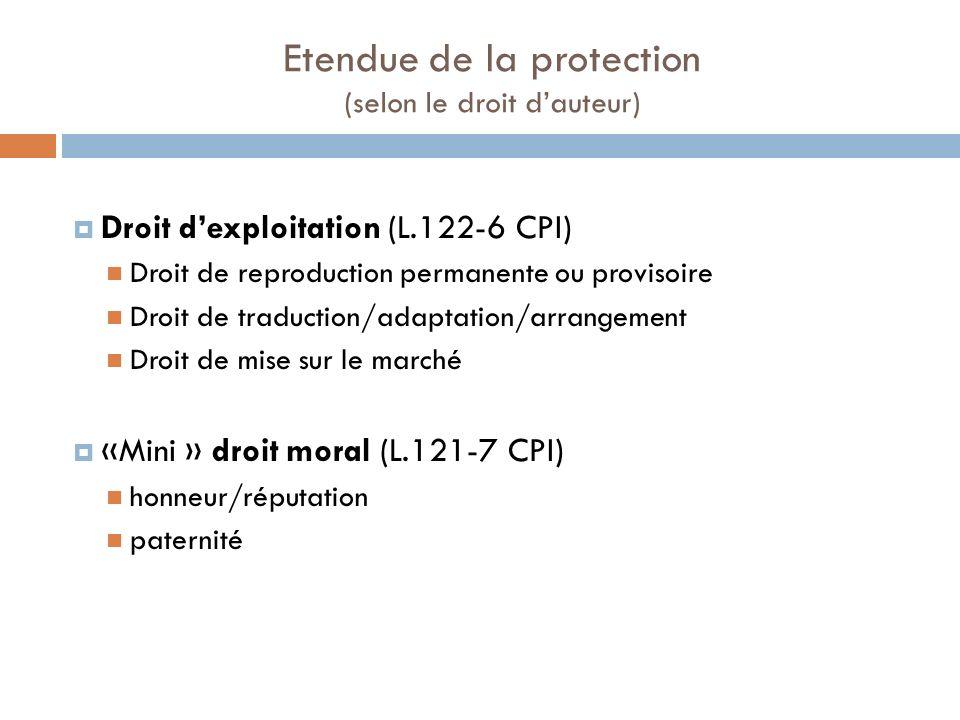Etendue de la protection (selon le droit d'auteur)