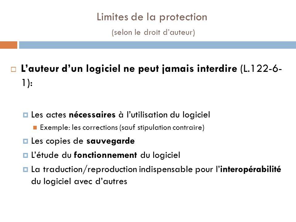 Limites de la protection (selon le droit d'auteur)