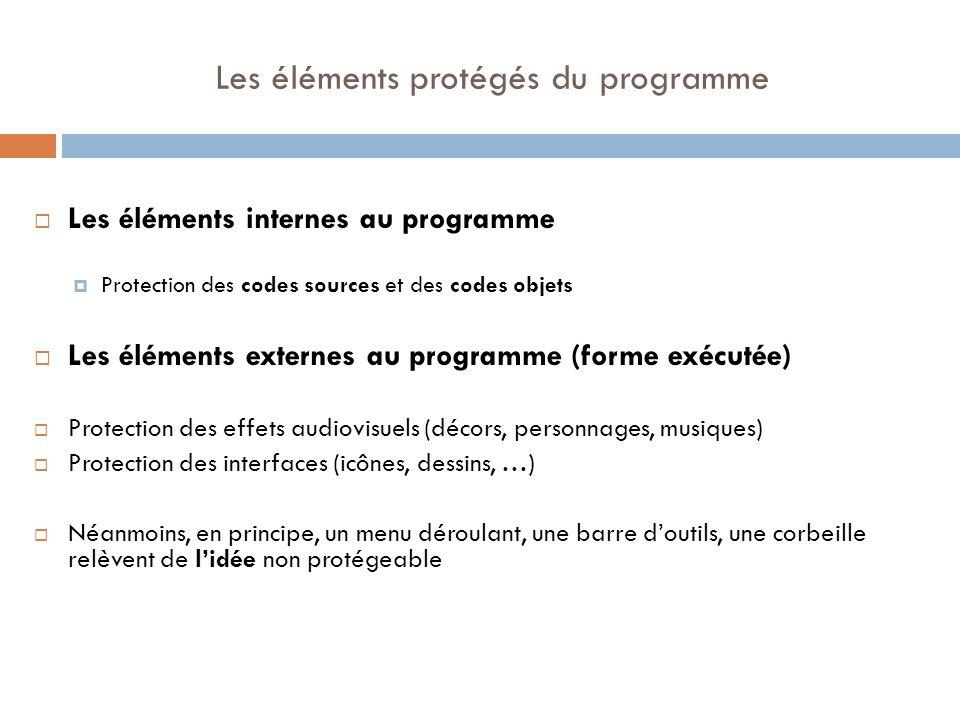 Les éléments protégés du programme