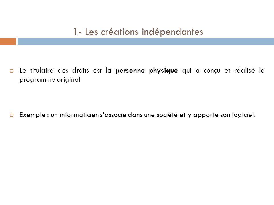1- Les créations indépendantes