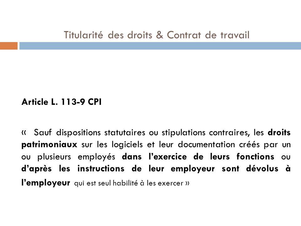 Titularité des droits & Contrat de travail