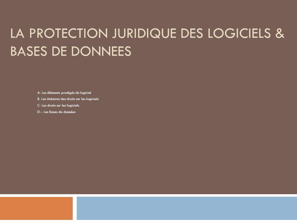 LA PROTECTION JURIDIQUE DES LOGICIELS & BASES DE DONNEES