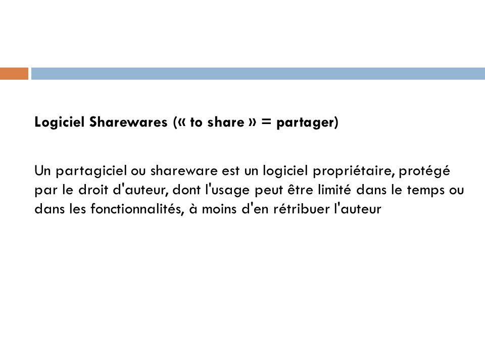 Logiciel Sharewares (« to share » = partager) Un partagiciel ou shareware est un logiciel propriétaire, protégé par le droit d auteur, dont l usage peut être limité dans le temps ou dans les fonctionnalités, à moins d en rétribuer l auteur