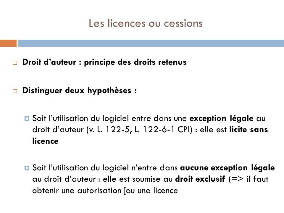 Les licences ou cessions
