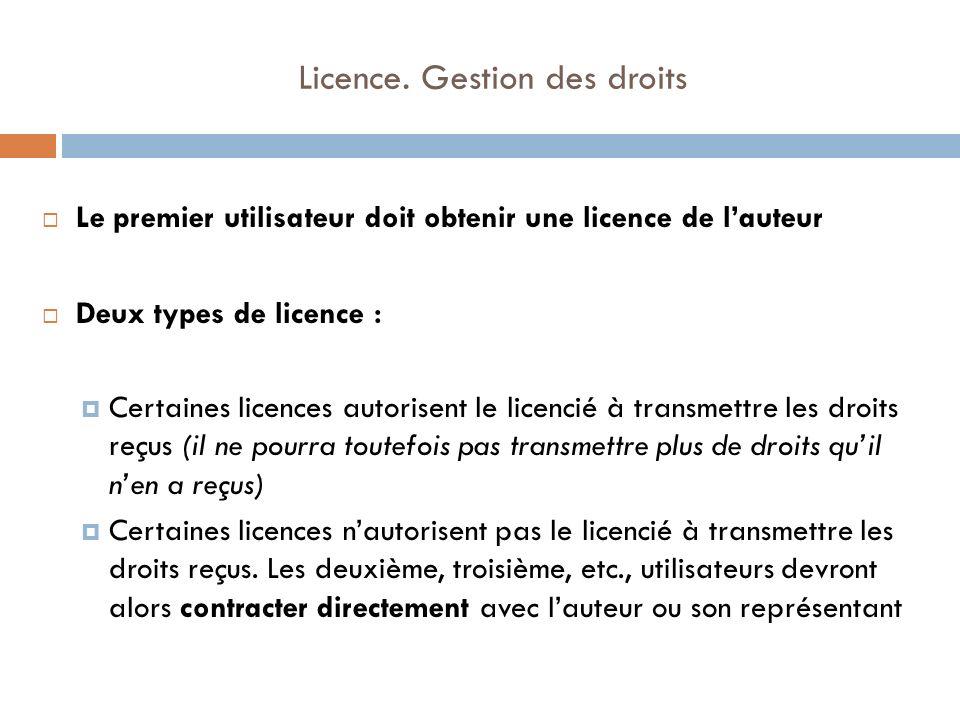 Licence. Gestion des droits