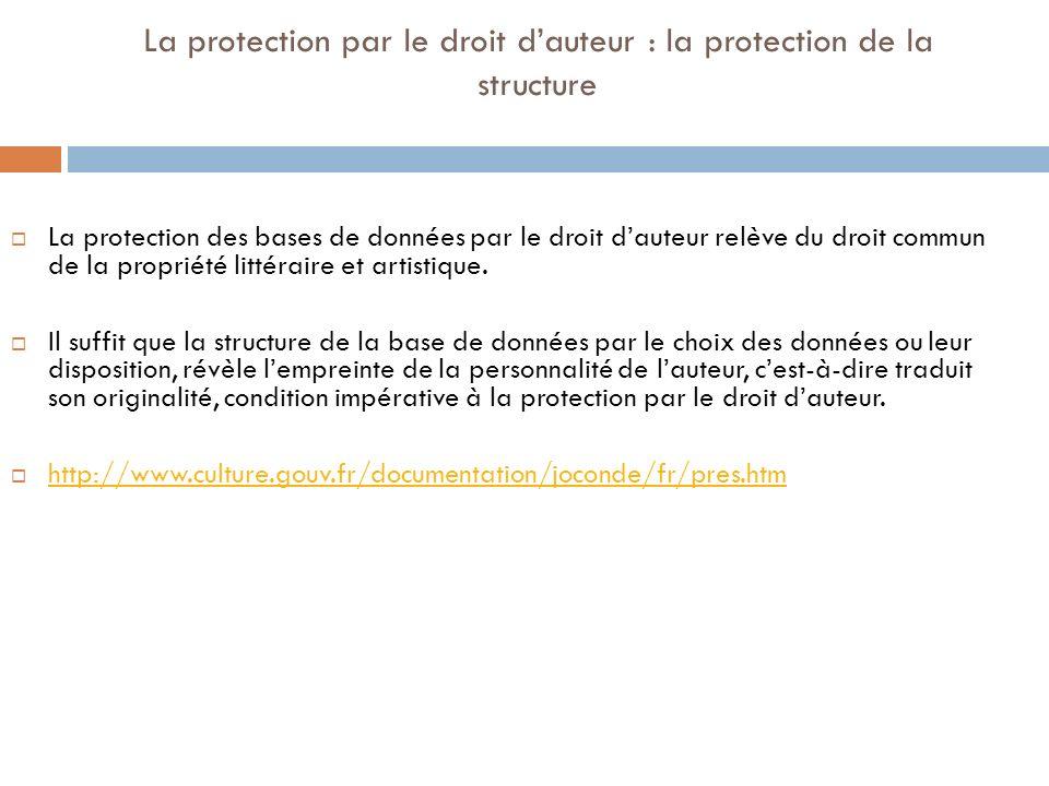 La protection par le droit d'auteur : la protection de la structure