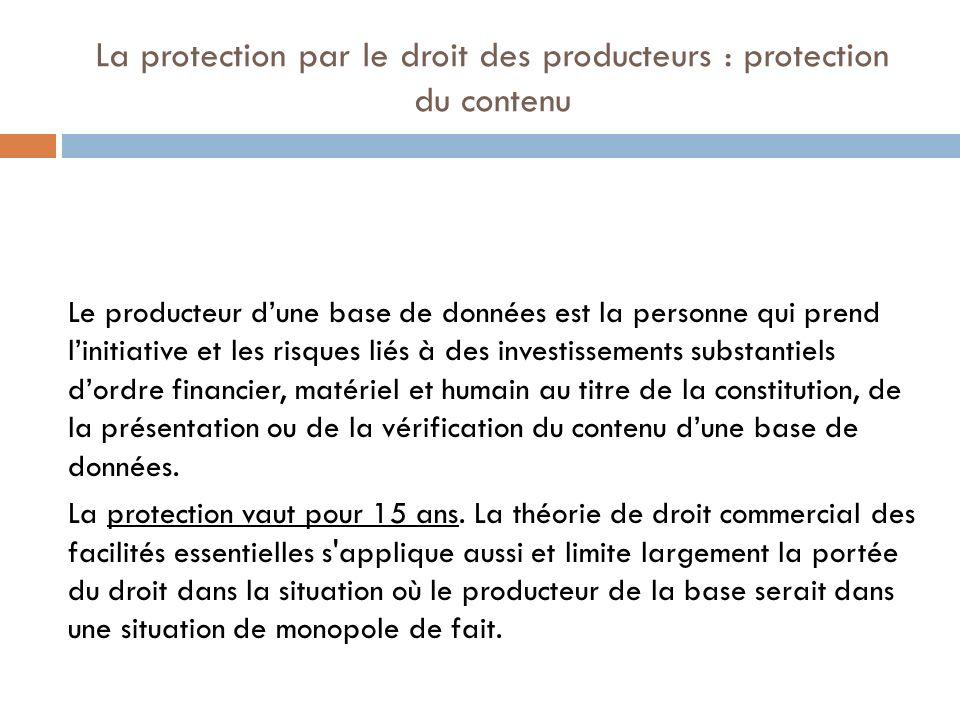 La protection par le droit des producteurs : protection du contenu