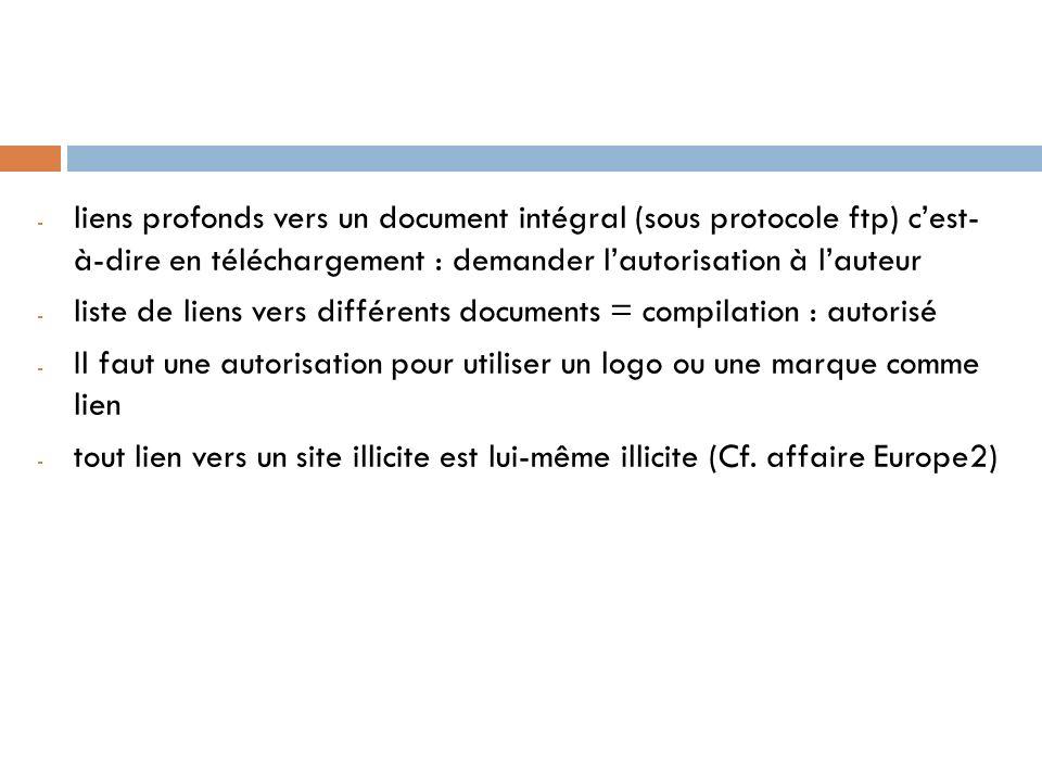 liens profonds vers un document intégral (sous protocole ftp) c'est- à-dire en téléchargement : demander l'autorisation à l'auteur