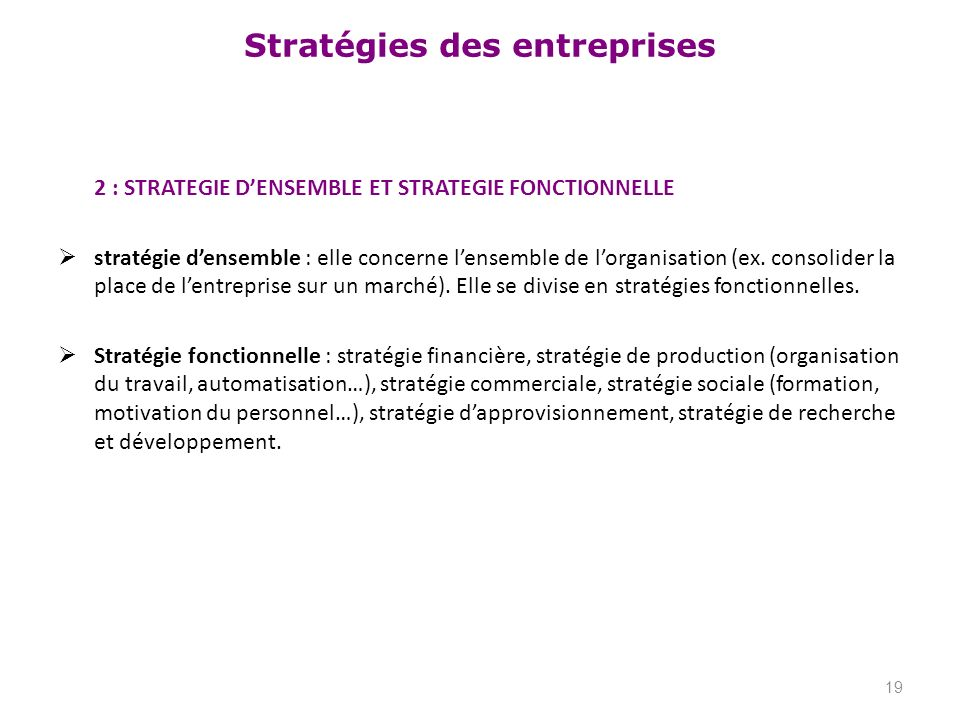 2 : STRATEGIE D'ENSEMBLE ET STRATEGIE FONCTIONNELLE