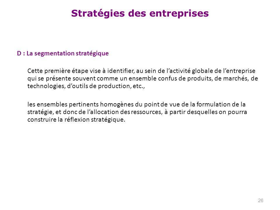 D : La segmentation stratégique Cette première étape vise à identifier, au sein de l'activité globale de l'entreprise qui se présente souvent comme un ensemble confus de produits, de marchés, de technologies, d'outils de production, etc., les ensembles pertinents homogènes du point de vue de la formulation de la stratégie, et donc de l'allocation des ressources, à partir desquelles on pourra construire la réflexion stratégique.