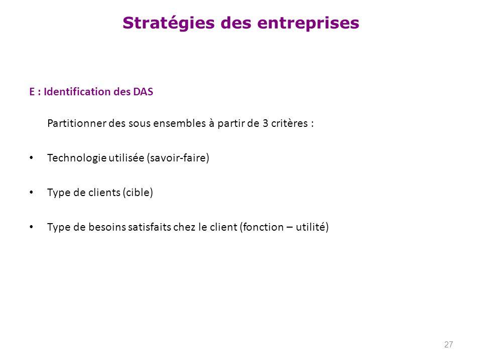 E : Identification des DAS