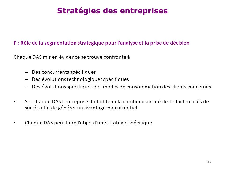F : Rôle de la segmentation stratégique pour l'analyse et la prise de décision