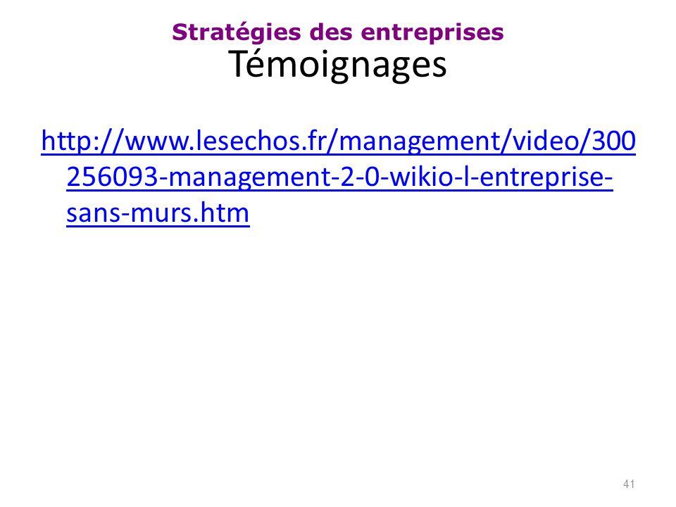 Témoignages http://www.lesechos.fr/management/video/300256093-management-2-0-wikio-l-entreprise-sans-murs.htm.