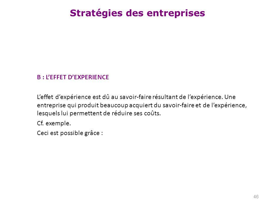 B : L'EFFET D'EXPERIENCE