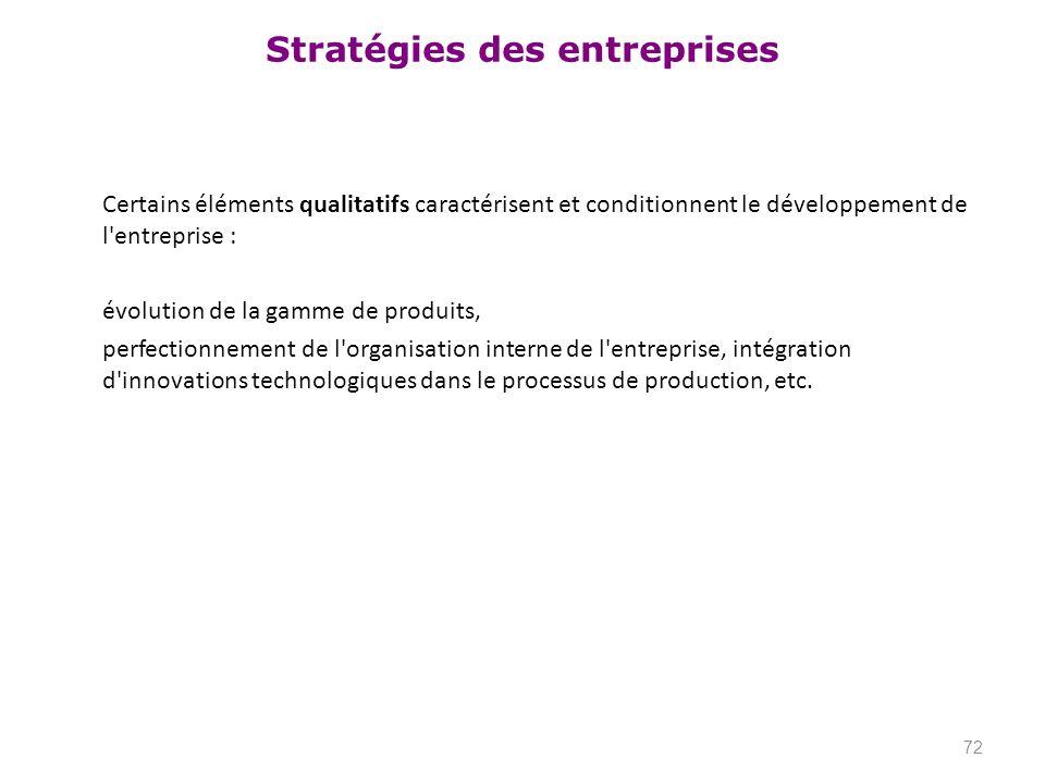Certains éléments qualitatifs caractérisent et conditionnent le développement de l entreprise : évolution de la gamme de produits, perfectionnement de l organisation interne de l entreprise, intégration d innovations technologiques dans le processus de production, etc.