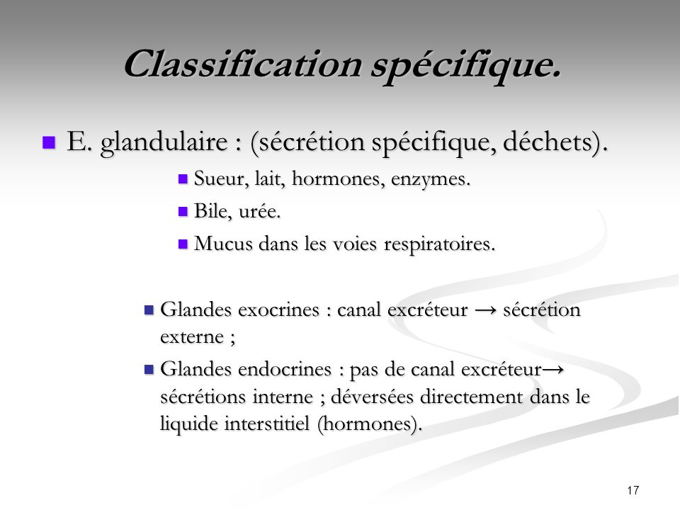 Classification spécifique.