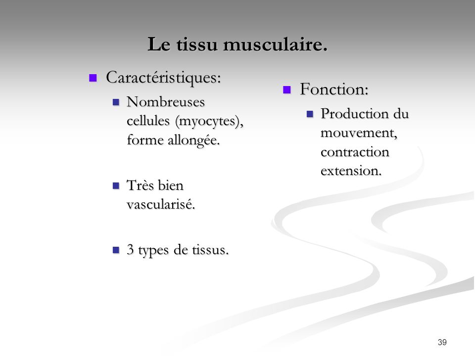 Le tissu musculaire. Caractéristiques: Fonction: