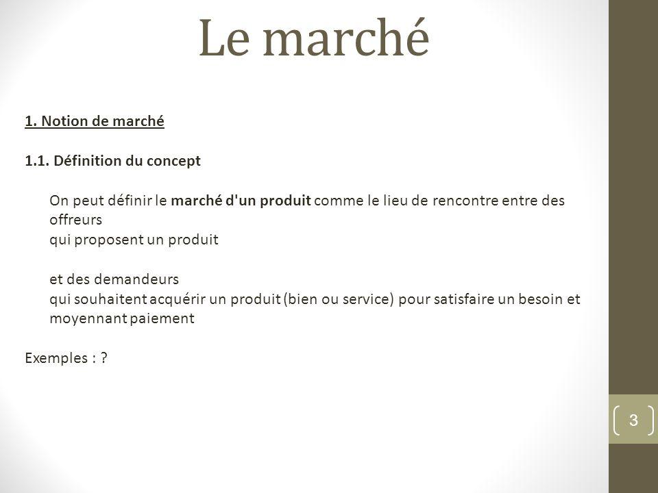 Le marché 1. Notion de marché 1.1. Définition du concept
