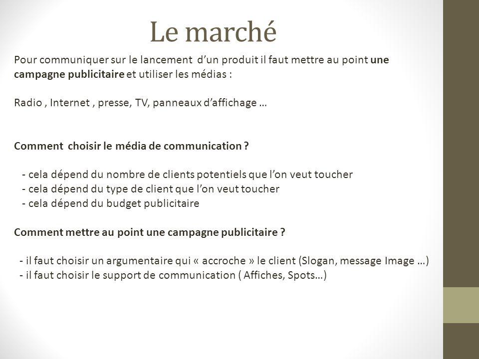 Le marché Pour communiquer sur le lancement d'un produit il faut mettre au point une campagne publicitaire et utiliser les médias :