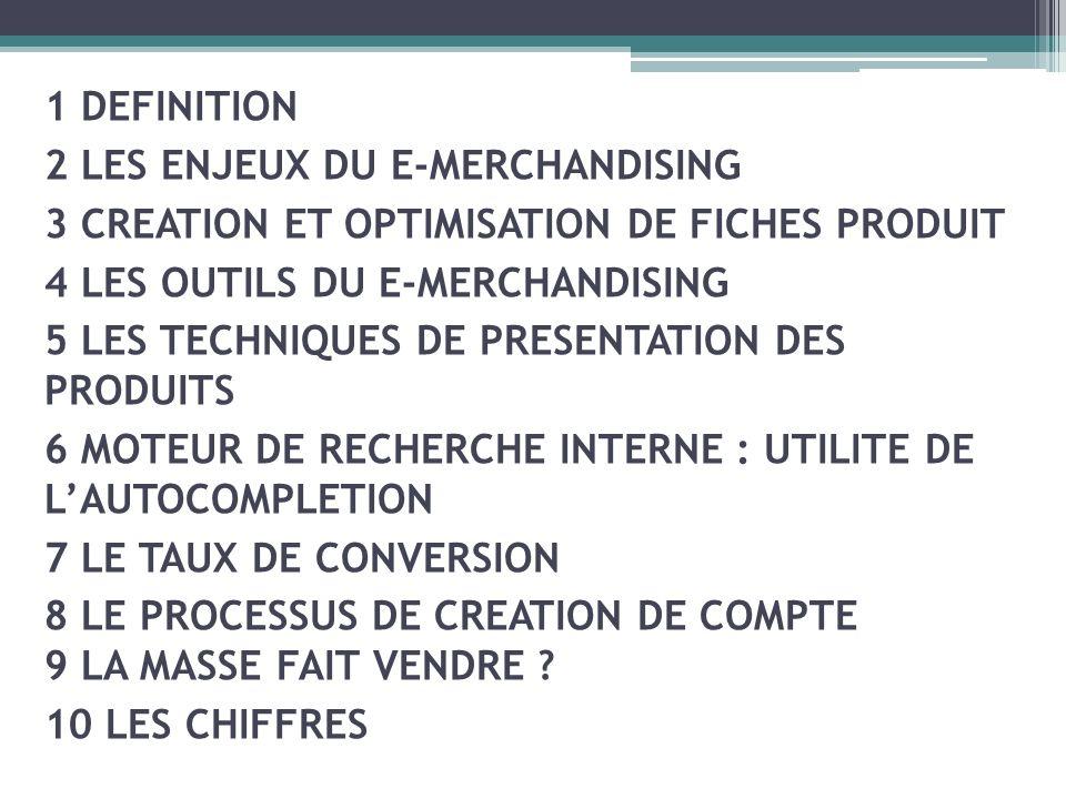 1 DEFINITION2 LES ENJEUX DU E-MERCHANDISING. 3 CREATION ET OPTIMISATION DE FICHES PRODUIT. 4 LES OUTILS DU E-MERCHANDISING.