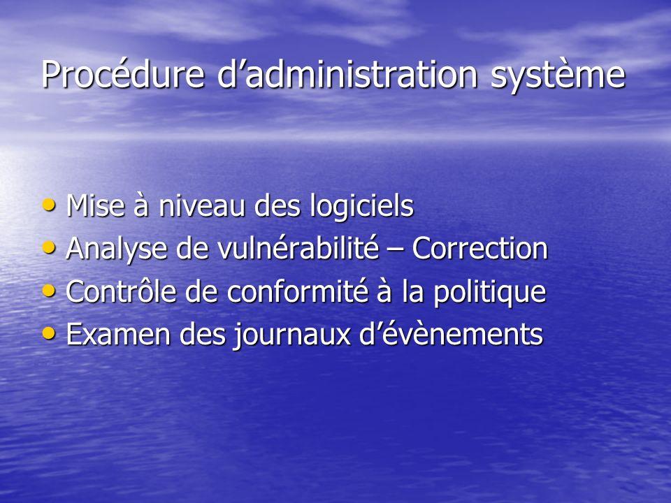 Procédure d'administration système