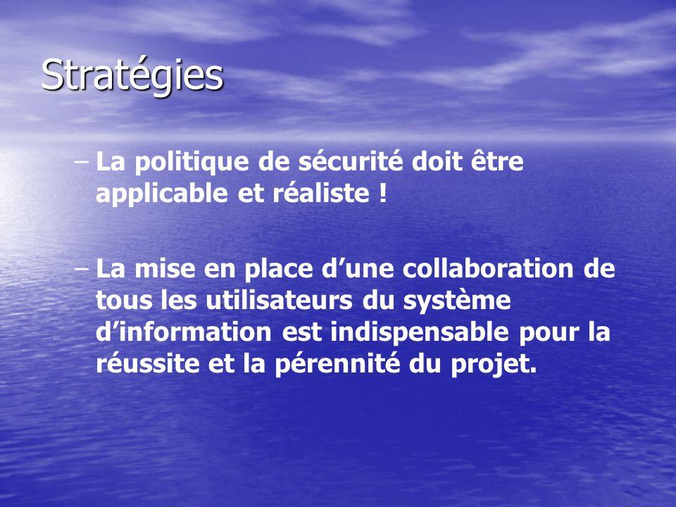 Stratégies La politique de sécurité doit être applicable et réaliste !