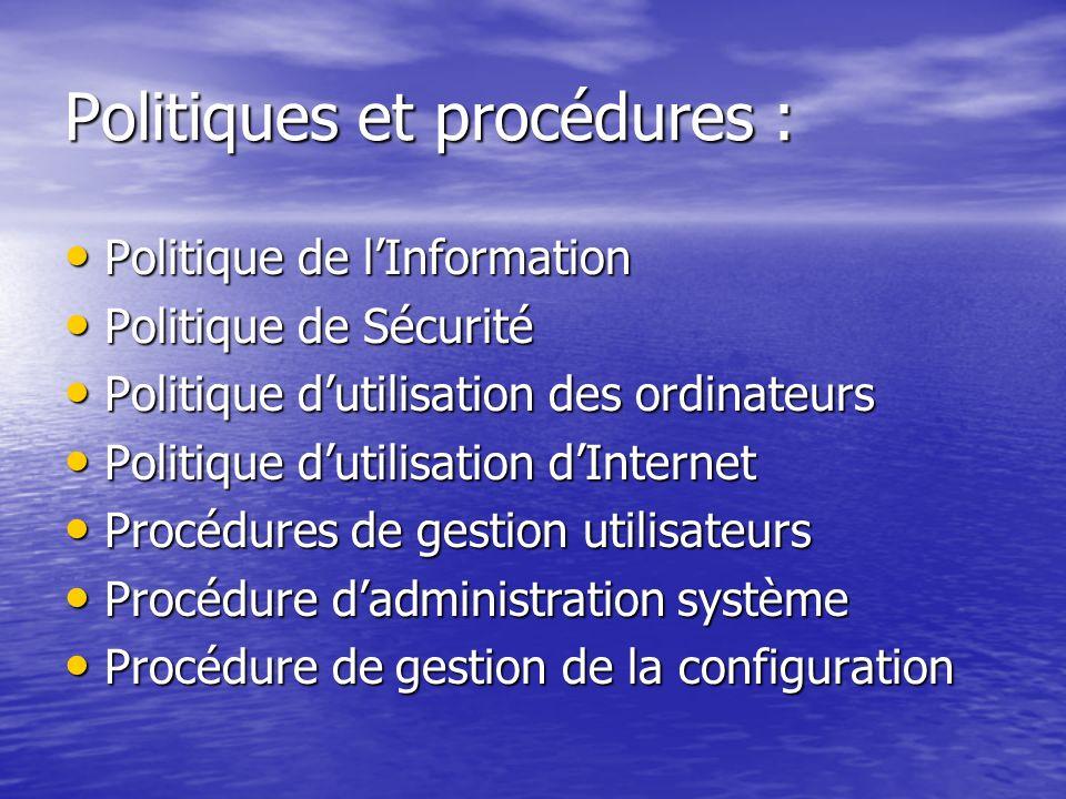 Politiques et procédures :