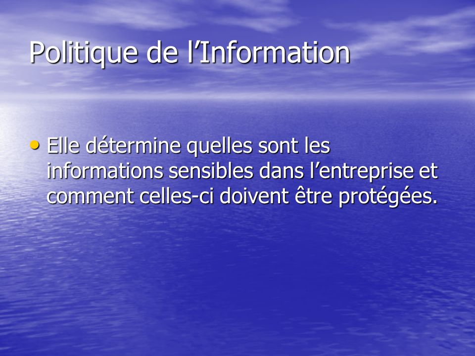 Politique de l'Information