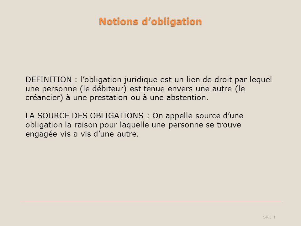 Notions d'obligation