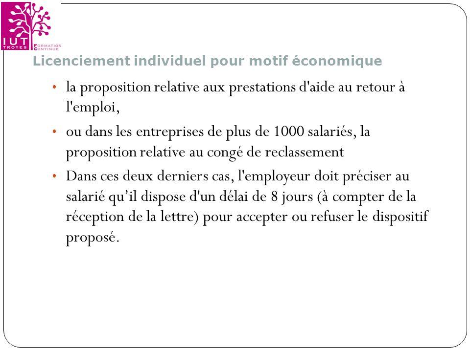 la proposition relative aux prestations d aide au retour à l emploi,