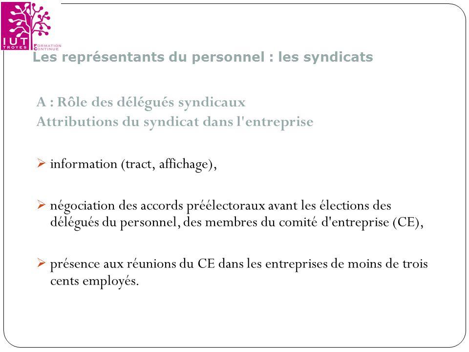 A : Rôle des délégués syndicaux