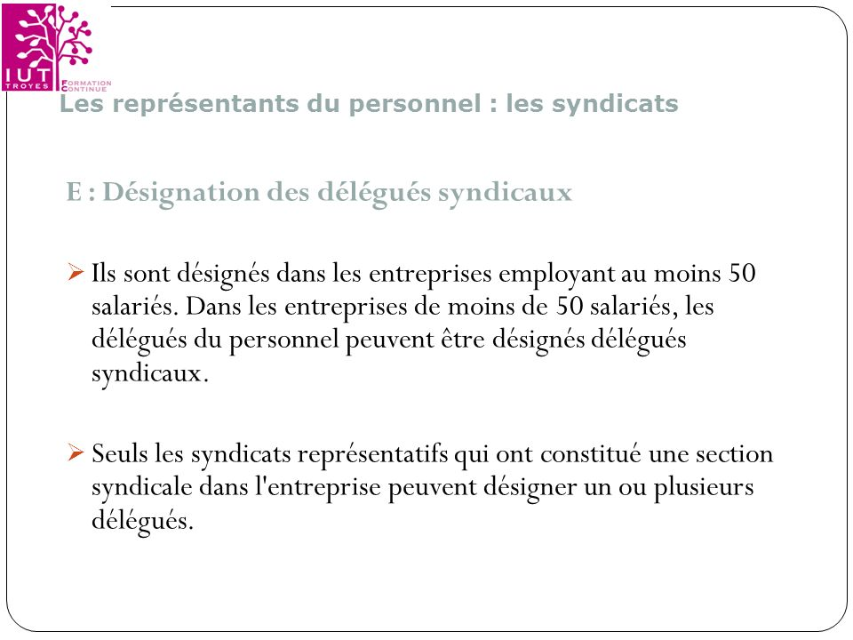 E : Désignation des délégués syndicaux