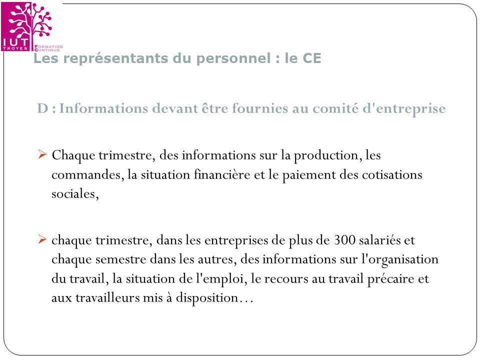 D : Informations devant être fournies au comité d entreprise