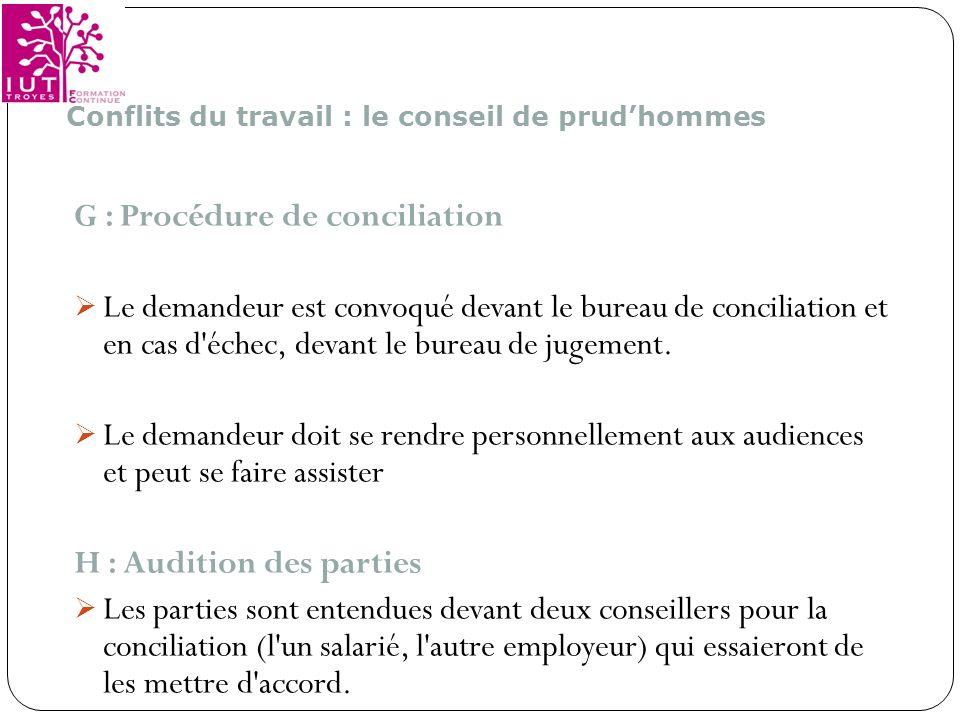 G : Procédure de conciliation