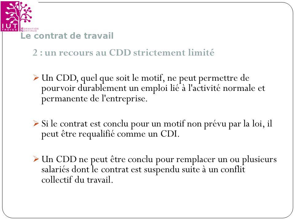 2 : un recours au CDD strictement limité