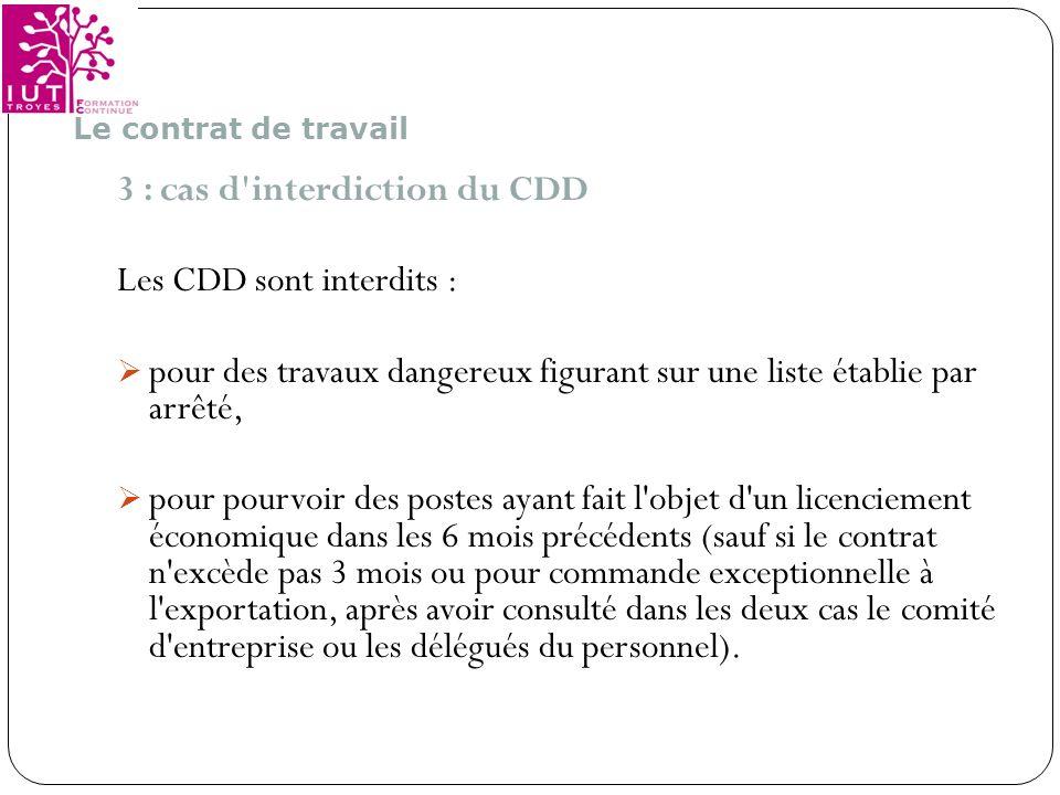 3 : cas d interdiction du CDD Les CDD sont interdits :