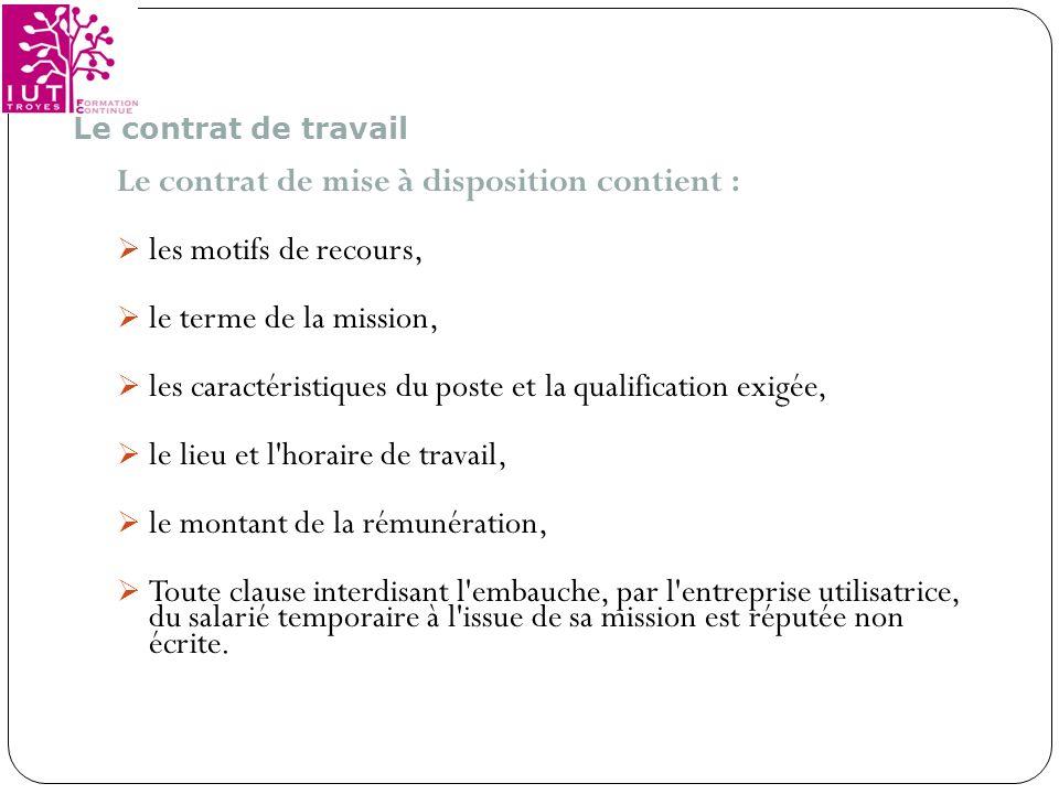 Le contrat de mise à disposition contient : les motifs de recours,