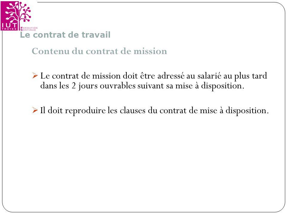 Contenu du contrat de mission