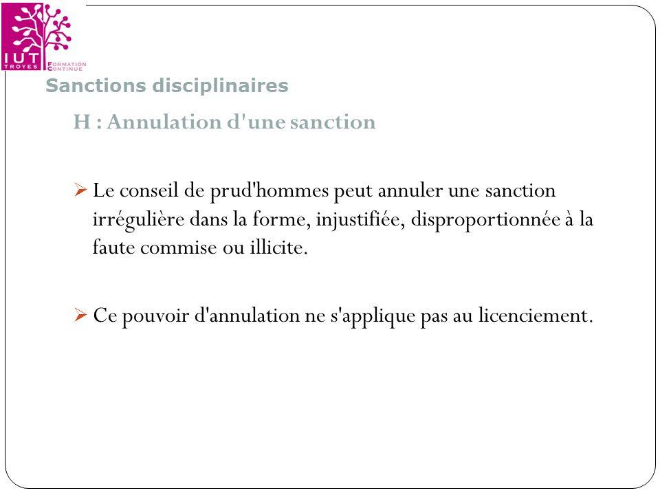 H : Annulation d une sanction