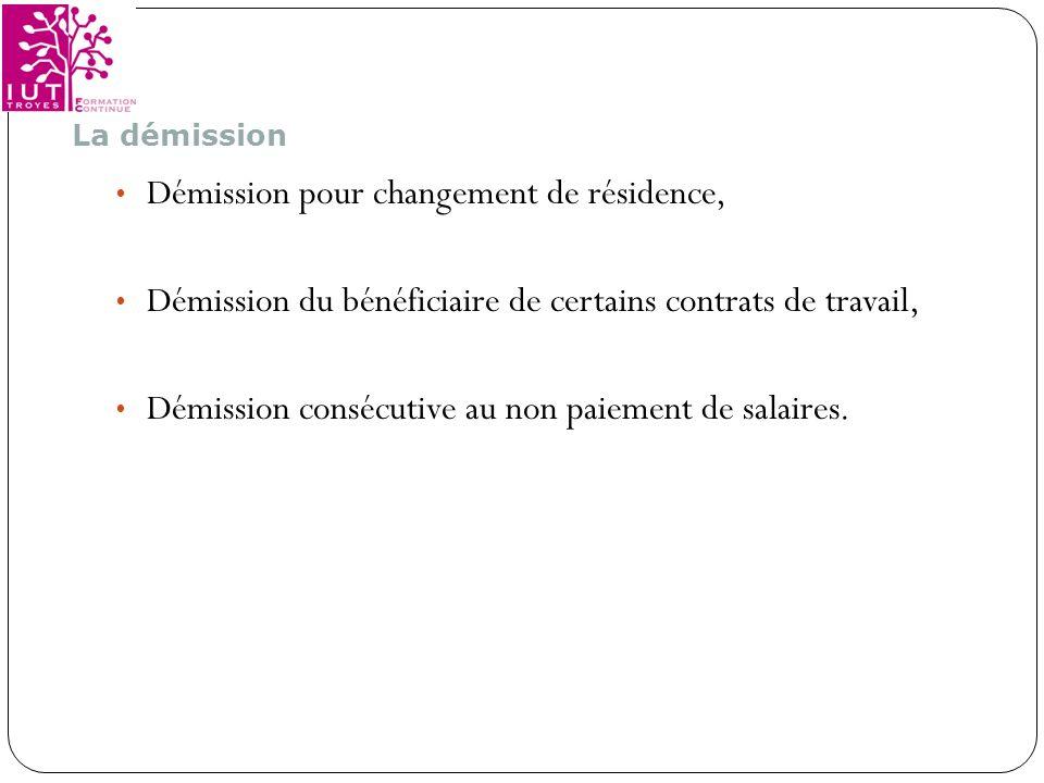 Démission pour changement de résidence,