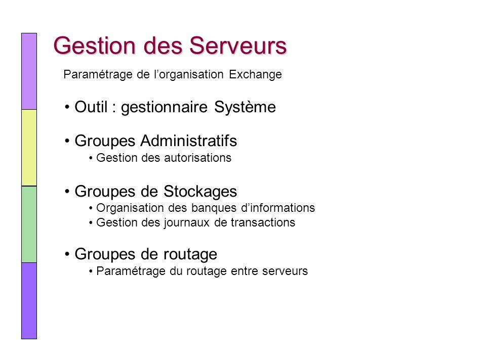 Gestion des Serveurs Outil : gestionnaire Système
