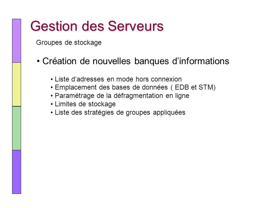 Gestion des Serveurs Création de nouvelles banques d'informations