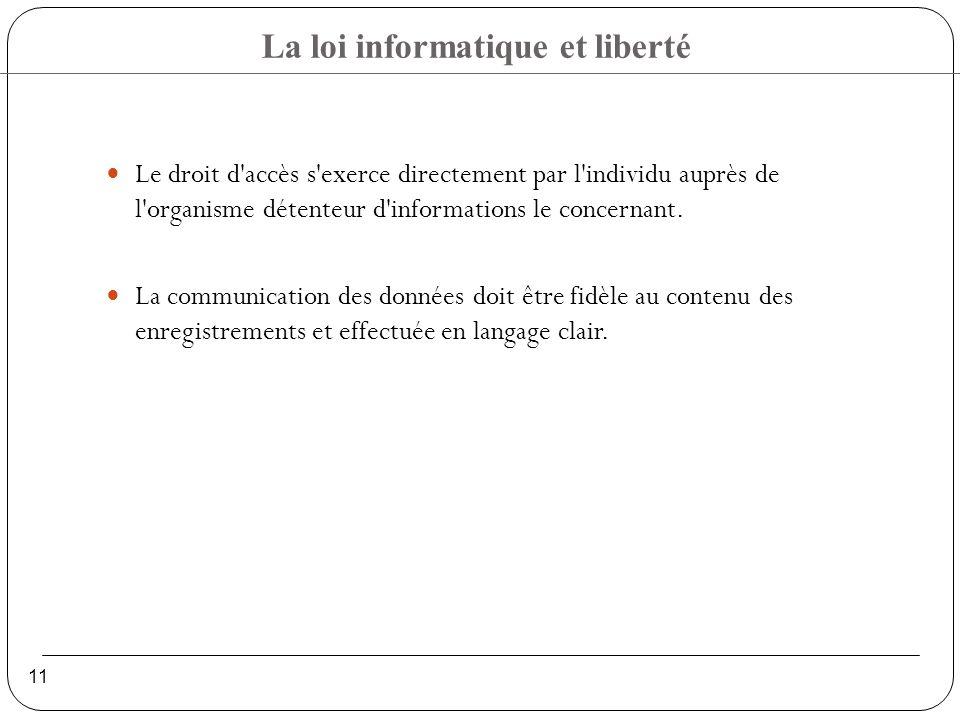 Le droit d accès s exerce directement par l individu auprès de l organisme détenteur d informations le concernant.