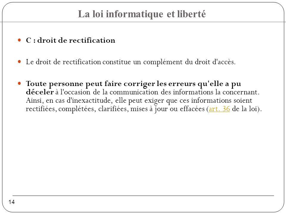 C : droit de rectification