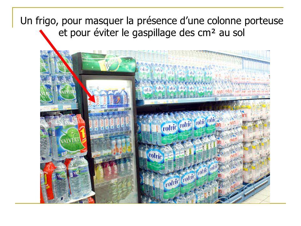 Un frigo, pour masquer la présence d'une colonne porteuse et pour éviter le gaspillage des cm² au sol