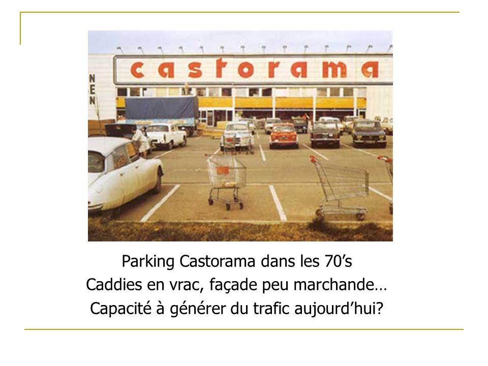 Parking Castorama dans les 70's Caddies en vrac, façade peu marchande…