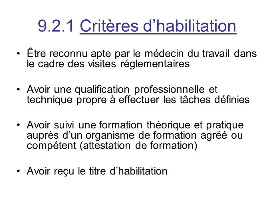 9.2.1 Critères d'habilitation