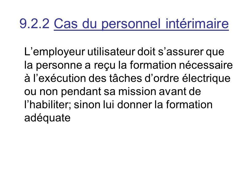 9.2.2 Cas du personnel intérimaire