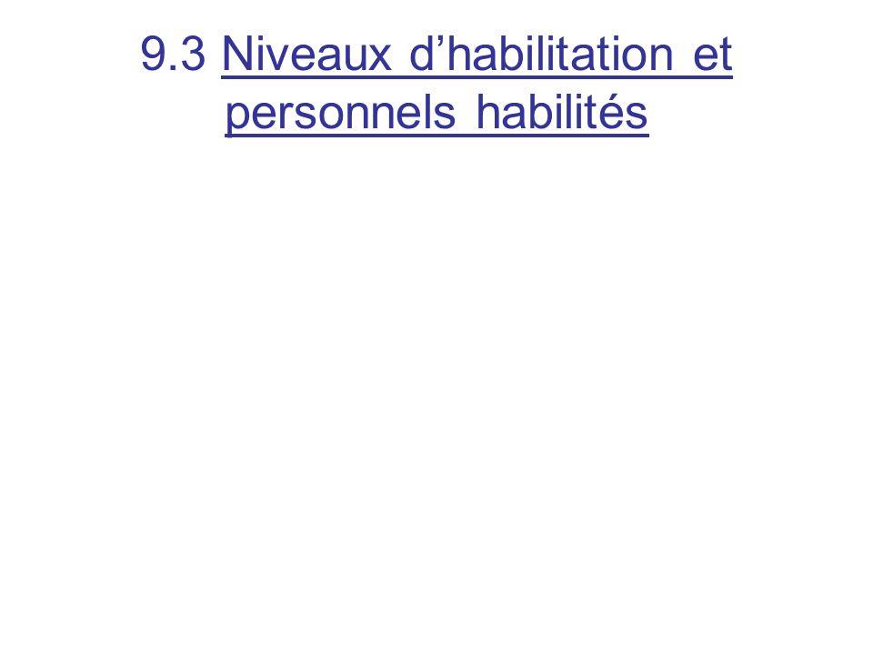 9.3 Niveaux d'habilitation et personnels habilités